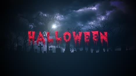 Texto-De-Animación-Halloween-Sobre-Fondo-Místico-De-Halloween-Con-Nubes-Oscuras-Y-Tumba-En-El-Cementerio-Animation-text-Halloween-on-mystical-halloween-background-with-dark-clouds-and-grave-on-cemetery