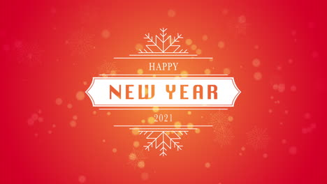 Animated-closeup-Happy-New-Year-and-2021-text-white-snowflake-and-glitter-on-snow-red-background