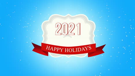Animated-closeup-Happy-Holidays-and-2021-text-fly-white-snowflakes-and-deers-on-snow-background-with-with-retro-banner