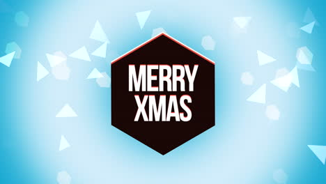 Animated-closeup-Merry-Xmas-text-and-geometric-triangles-on-snow-background