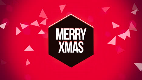 Animated-closeup-Merry-Xmas-text-and-geometric-triangles-on-snow-background-1
