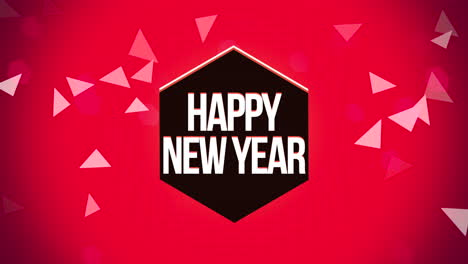 Animated-closeup-Happy-New-Year-text-and-geometric-triangles-on-snow-background