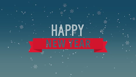 Animated-closeup-Happy-New-Year-text-and-fly-white-snowflakes-on-snow-blue-background
