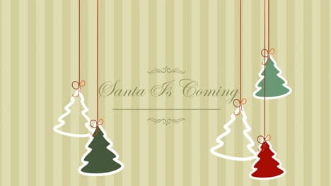 Animated-closeup-Santa-is-Coming-text-and-Christmas-trees-on-winter-holiday-background