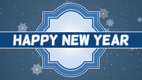 Animated-closeup-Happy-New-Year-text-and-fly-white-snowflakes-on-snow-blue-gradient-background
