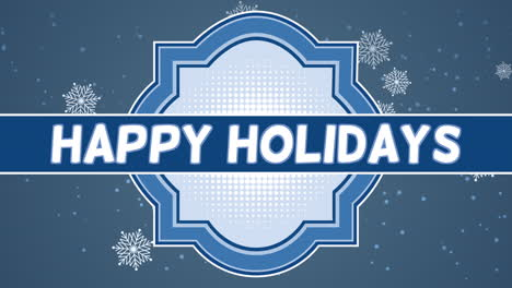 Animated-closeup-Happy-Holidays-text-and-fly-white-snowflakes-on-snow-background-with-stamp