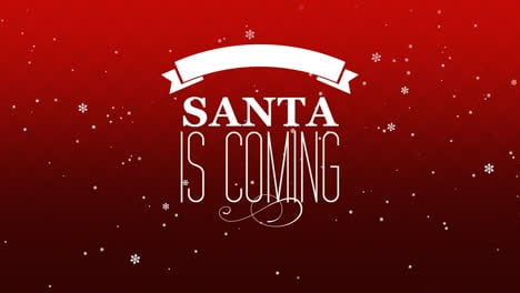 Animated-closeup-Santa-is-Coming-text-and-fly-white-snowflakes-on-snow-red-gradient-background