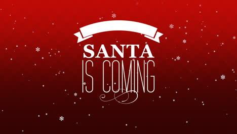 Primer-Plano-Animado-Santa-Viene-Texto-Y-Vuela-Copos-De-Nieve-Blancos-Sobre-Fondo-Degradado-Rojo-Nieve