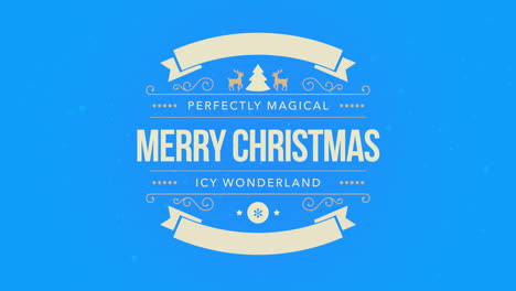 Animated-closeup-Merry-Christmas-text-white-snowflake-and-glitter-on-snow-blue-background-with-retro-banner