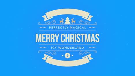 Primer-Plano-Animado-Feliz-Navidad-Texto-Copo-De-Nieve-Blanco-Y-Brillo-Sobre-Fondo-Azul-Nieve-Con-Banner-Retro
