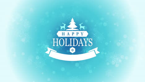 Animated-closeup-Happy-Holidays-text-with-snowflakes-deers-and-Christmas-trees-on-snow-blue-background