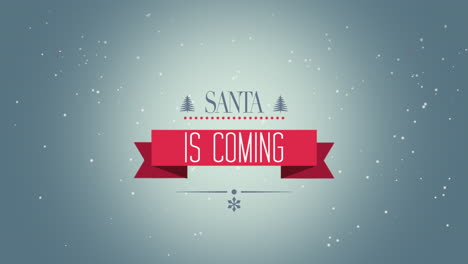 Animated-closeup-Santa-is-Coming-text-and-fly-white-snowflakes-on-snow-background