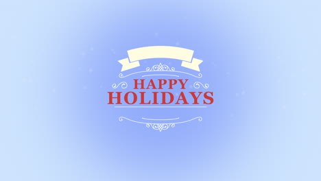 Animated-closeup-Happy-Holidays-text-with-snowflakes-and-stamp-on-snow-blue-background