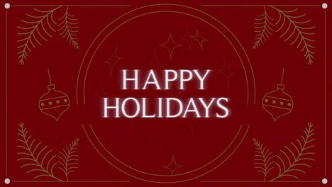 Animated-closeup-Happy-Holidays-text-and-Christmas-toys-and-try-branches-on-holiday-background