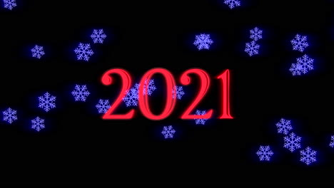 Animated-closeup-2021-text-and-fly-blue-snowflakes-on-holiday-background