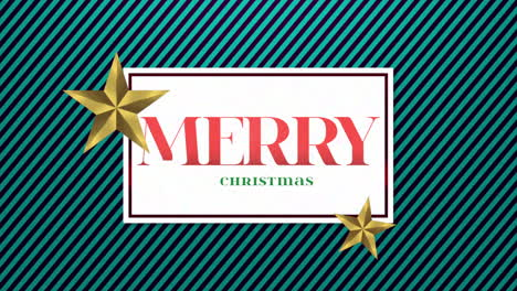 Animated-closeup-Merry-Christmas-text-and-gift-design-with-gold-stars-on-holiday-background