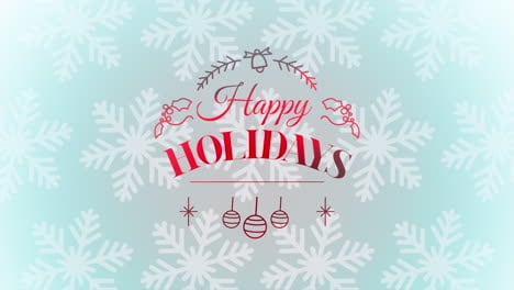 Animated-closeup-Happy-Holidays-text-and-Christmas-toys-and-snowflakes-holiday-background
