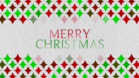 Animated-closeup-Merry-Christmas-text-and-gift-design-with-red-and-green-geometric-pattern-on-holiday-background