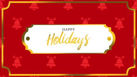 Animated-closeup-Happy-Holidays-text-and-bells-with-gold-frame-on-holiday-background