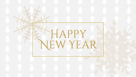 Animated-closeup-Happy-New-Year-text-and-gold-snowflakes-with-on-holiday-black-background
