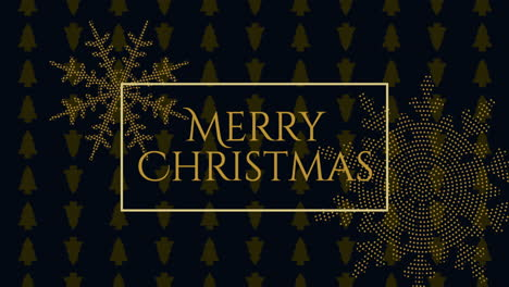 Animated-closeup-Merry-Christmas-text-and-gold-snowflakes-with-on-holiday-black-background