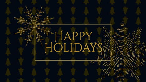 Animated-closeup-Happy-Holidays-text-and-gold-snowflakes-with-on-holiday-black-background
