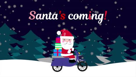 Animierte-Nahaufnahme-Weihnachtsmann-Kommt-Text-Und-Weihnachtsmann-Auf-Motorrad-Im-Schneewald-Urlaub-Hintergrund