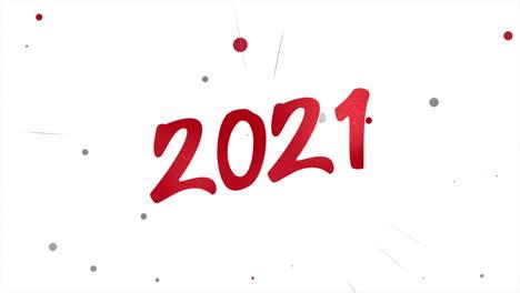 Primer-Plano-Animado-2021-Texto-Y-Confeti-Rojo-Volador-Sobre-Fondo-De-Vacaciones
