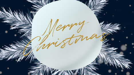 Animated-closeup-Merry-Christmas-text-and-winter-landscape-with-snowflakes-on-holiday-background