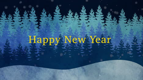 Animated-closeup-Happy-New-Year-text-and-winter-landscape-with-trees-and-snow-on-holiday-background-1