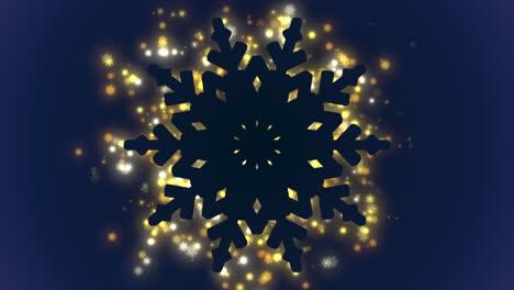Primer-Plano-Animado-Con-Copos-De-Nieve-Dorados-Y-Brillos-Sobre-Fondo-De-Vacaciones