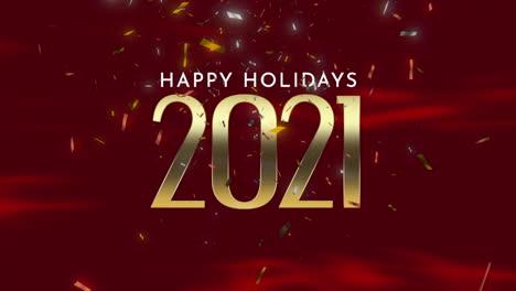 Primer-Plano-Animado-2021-Y-Texto-De-Felices-Fiestas-Con-Confeti-Dorado-Y-Purpurina-Sobre-Fondo-De-Vacaciones