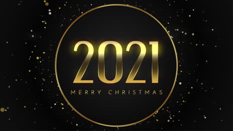 Animated-closeup-2021-and-Merry-Christmas-text-with-fly-gold-snowflakes-and-glitter-on-black-holiday-background