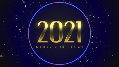 Animated-closeup-2021-and-Merry-Christmas-text-with-fly-gold-snowflakes-and-glitter-on-blue-holiday-background