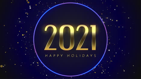 Animated-closeup-2021-and-Happy-Holidays-text-with-fly-gold-snowflakes-and-glitter-on-blue-holiday-background