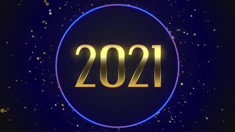 Primer-Plano-Animado-2021-Texto-Y-Volar-Copos-De-Nieve-Azules-Con-Brillo-Sobre-Fondo-De-Vacaciones