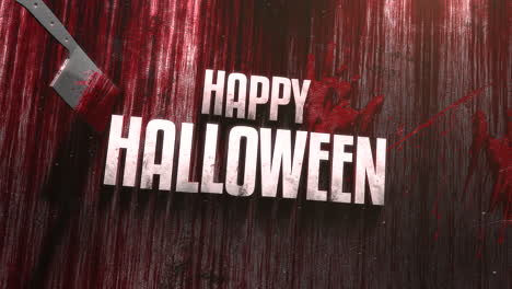 Animation-text-Happy-Halloween-on-mystical-horror-background-with-dark-bloody-and-knife-on-wood