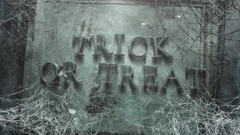 Animation-text-Trick-or-Treat-and-mystical-horror-background-with-dark-spiderweb