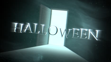 Animation-text-Halloween-and-mystical-horror-background-with-dark-door-of-room