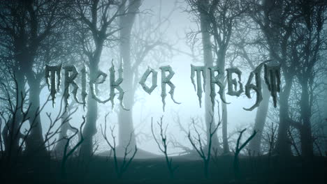 Animation-text-Trick-or-Treat-and-mystical-background-with-dark-forest-and-fog-1