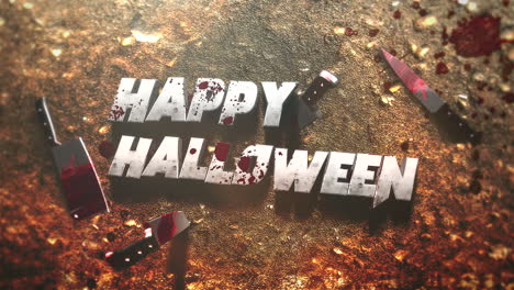 Animation-text-Happy-Halloween-on-mystical-horror-background-with-dark-bloody-and-knifes