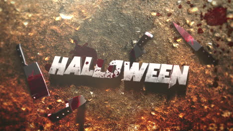 Animation-text-Halloween-on-mystical-horror-background-with-dark-bloody-and-knifes