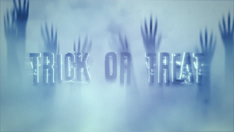Animation-text-Trick-or-Treat-on-mystical-horror-background-with-hands-behind-the-glass