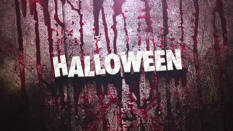 Animation-text-Halloween-on-mystical-horror-background-with-dark-blood-and-motion-camera