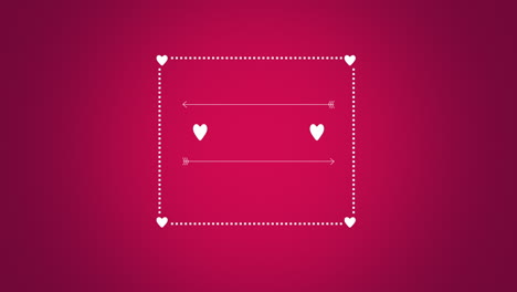 Animated-closeup-romantic-red-hearts-with-arrow-and-frame-on-red-Valentines-day-background