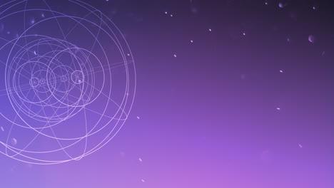 Forma-Geométrica-De-Movimiento-Con-Partículas-En-El-Espacio-Abstracto-Fondo-Oscuro-Púrpura