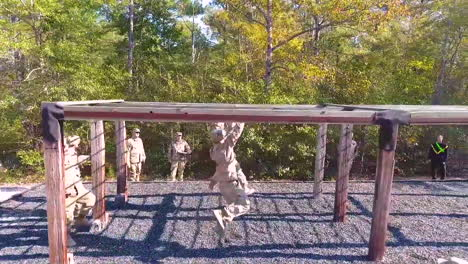 An-Aerial-Over-Us-Army-Soldiers-Going-Through-Obstacle-Course-Exercises-In-Basic-Training-4