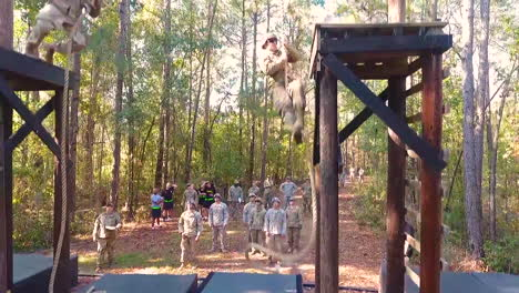 An-Aerial-Over-Us-Army-Soldiers-Going-Through-Obstacle-Course-Exercises-In-Basic-Training-5