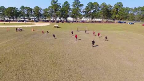 Aerial-Over-A-Pickup-Soccer-Game-At-A-Local-Field