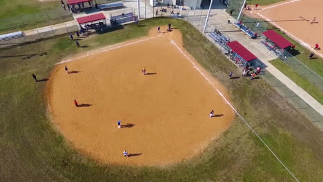 Aerial-Over-A-Baseball-Game-On-A-Local-Field